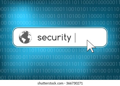 Internet security concept. Network safety symbols with search bar and binary code in the background.