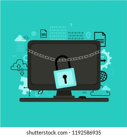 Internet security concept. Online safety, data protection, cloud computing. Flat vector icon for web design with desktop computer.