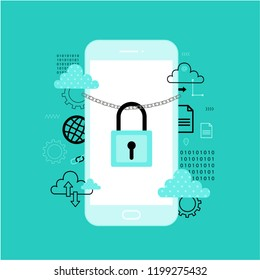Internet security concept. Online safety, data protection, cloud computing. Flat vector icon for web design with smartphone
