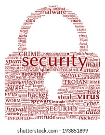 Internet Security Concept - Padlock shaped word cloud