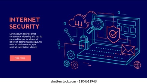 Internet Security Concept for web page, banner, presentation. Vector illustration