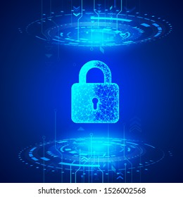 Internet security. Cyber data defense or information protection concept. Firewall or other software or network security. Blue abstract technology background. Vector illustration