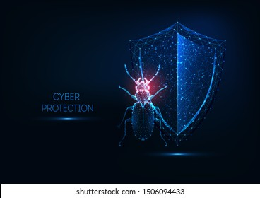 Internet security, cyber protection concept with futuristic glowing low polygonal Beatle bug and shield isolated on dark blue background. Modern wireframe design vector illustration.