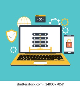 Internet security, data protection, secure data exchange, cryptography flat illustration concepts set. Creative flat design concepts for web banners, web sites, infographics. Flat vector illustrations