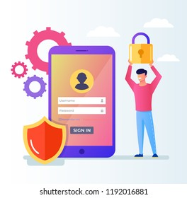 Internet security encryption, VPN, privacy personal business data login password protection protection system. User man character with lock. Vector flat cartoon graphic design illustration