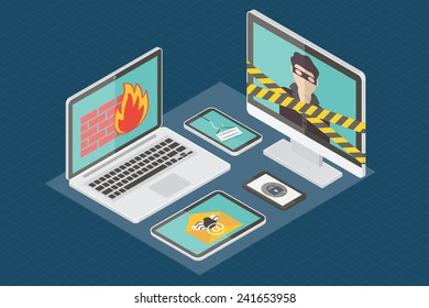 Internet security, hacker, virus protection and email spam. Flat design isometric vector illustration.