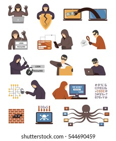 Internet security hackers tools tricks and schemes flat icons collection with broken padlock octopus  isolated vector illustration