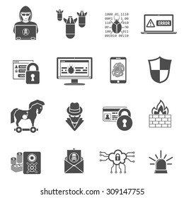 Internet Security Icon Set for Flyer, Poster, Web Site Like Hacker, Virus, Spam and Firewall.