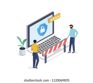 Internet security isometric concept.Traffic Encryption,Privacy Protection Antivirus hack, VPN.