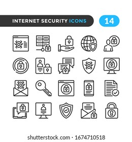 Internet security line icons. Outline symbols collection. Premium quality. Vector thin line icons set