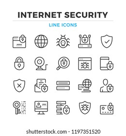 Internet security line icons set. Modern outline elements, graphic design concepts, simple symbols collection. Vector line icons