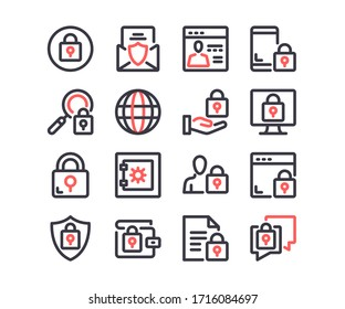Internet security line icons set. Cybersecurity, data protection, privacy concepts. Modern outline symbols. Simple thin stroke design linear graphic elements. Red and black colors. Vector line icons