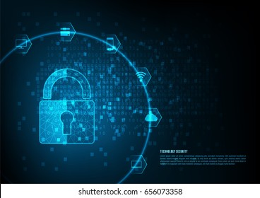 Internet security online concept: Padlock With Keyhole icon in. personal data security Illustrates cyber data security or information privacy idea. Blue abstract hi speed internet technology.