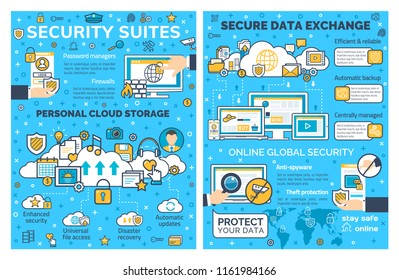 Internet security and personal cloud storage web protection. Vector poster of online secure technology for private data access and exchange in computer and smartphone networks