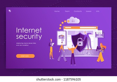 Internet security, Protection of the personal computer, online payments, bank cards, e-mail. Colorful vector illustration of modern website