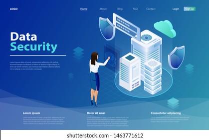 Internetsicherheitsschild-Geschäftskonzept. Geschäftsfrau wendet Fingerabdruck-Scanner an, um auf Datenbank zugreifen zu können, Datenschutzkonzept. Vorlagen für Cybersicherheit. Isomometrisches Datensicherheitskonzept