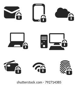 Internet security vector icon set in black.
