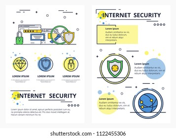 Internet security web banner, poster, flyer, leaflet, brochure template. Vector modern thin line art flat style design illustration.