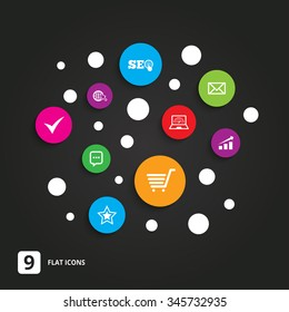 Internet, seo icons. Tick, online shopping and chart signs. Bandwidth, mobile device and chat symbols. Flat circle buttons with icons on black.
