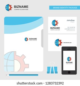 Internet setting Business Logo, File Cover Visiting Card and Mobile App Design. Vector Illustration