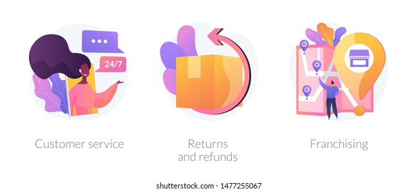 Internet shop clients support, call center. Orders shipment and delivery. Marketing network. Custom service, returns and refunds, franchising metaphors. Vector isolated concept metaphor illustrations