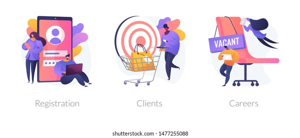 Internet shop interface cliparts set. Open vacancy, employees hiring. Sign up, online store customer order. Registration, clients, careers metaphors. Vector isolated concept metaphor illustrations
