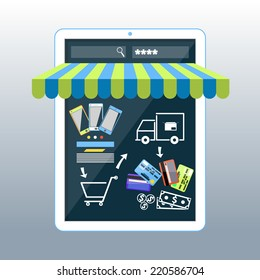 Internet shopping concept smartphone with awning of buying products via on line shop store e-commerce ideas e-commerce symbols sale elements on stylish background