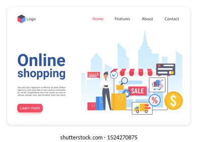 Internet shopping landing page flat vector template. Online ecommerce marketplace website design layout. Internet store webpage cartoon concept. Retail merchandising. Webshop interface