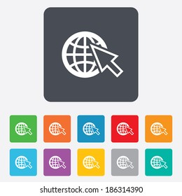 Internet sign icon. World wide web symbol. Cursor pointer. Rounded squares 11 buttons. Vector