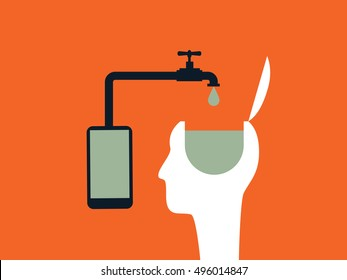 Internet or social networks brainwashing vector concept with smartphone and person head. Eps10 vector illustration.