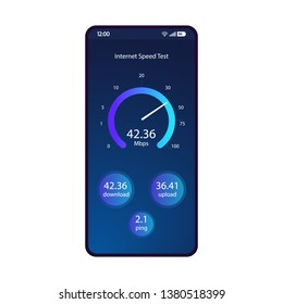 Internet speed test smartphone interface vector template. Mobile app page blue design layout. Wifi, mobile internet booster screen. Flat UI for application. Online connection check. Phone display