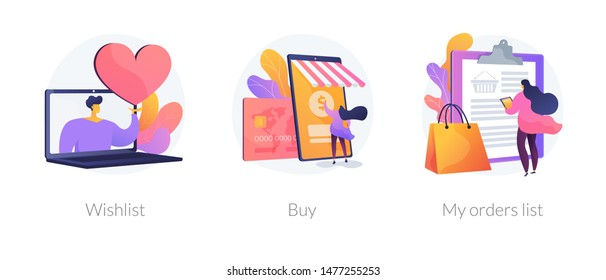 Internet store website interface. Purchases ordering, online payment. E-commerce cliparts set. Wishlist, buy, my orders list metaphors. Vector isolated concept metaphor illustrations