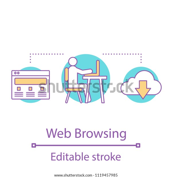 Internet Surfing Concept Icon Web Browsing Stock Vector