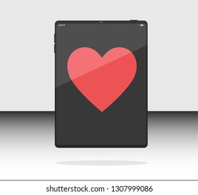 Internet tablet, Web tablet, Pad tablet Realistic Flat Styles Isolated with Like, Heart, Love red color on Background. Vector Illustration. Black color.