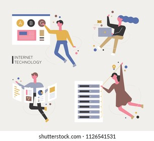 internet technology and characters flat design style vector graphic illustration set