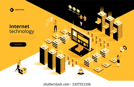 Internet technology. Smart industry. Blockchain, internet of things and lifestyle. People using connected devices and touch screen interfaces. Vector isometric illustration