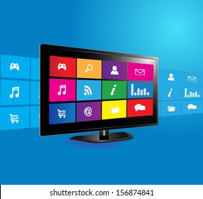 Internet television concept: colorful application icons on blue background