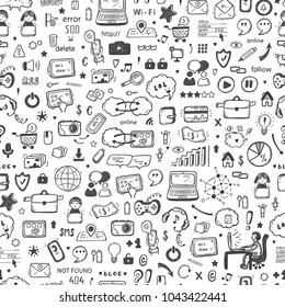Internet of Things Background. Hand drawn Doodle Cloud Computing Technology and Social Media Icons Vector Seamless pattern