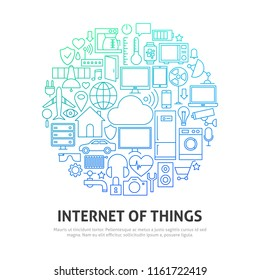 Internet of Things Circle Concept. Vector Illustration of Outline Design.