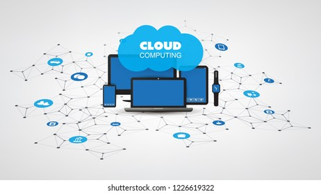 Internet of Things, Cloud Computing Design Concept with Electronic Devices and Icons - Digital Network Connections, Technology Background