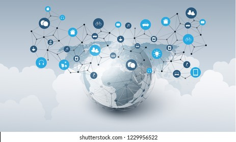 Internet of Things, Cloud Computing Design Concept with Earth Globe, Clouds and Icons - Global Digital Network Connections, Smart Technology Concept
