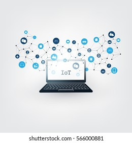 Internet of Things, Cloud Computing Design Concept with Icons - Digital Network Connections, Technology Background