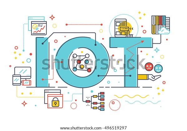 Internet de las cosas, concepto de tecnología de Internet de la informática letra palabras ilustración de diseño con iconos de línea y adornos en el tema azul