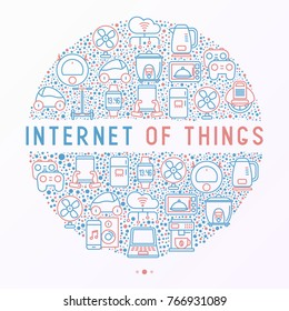Internet of things concept in circle with thin line icons: laptop, smart watch, cloud computing technology, kettle, speaker, smart car, robot vacuum. Vector illustration for web page, print media.