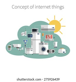 Internet things concept flat icon in public data exchange cloud protected environment symbol poster abstract vector illustration