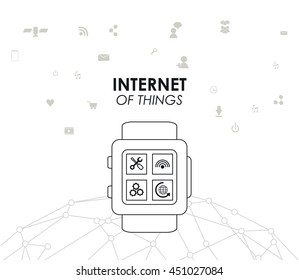 Internet of things concept represented by watch icon. Isolated and flat illustration.
