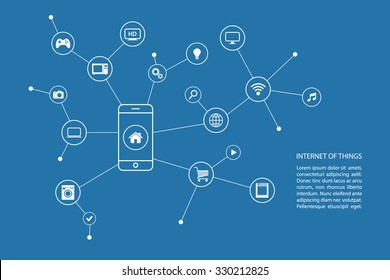 Internet of things concept with smart phone and white icons. Vector illustration.