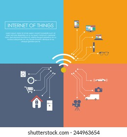 Internet of things concept vector illustration with icons for smart things in household, technology, communication. Eps10 vector illustration