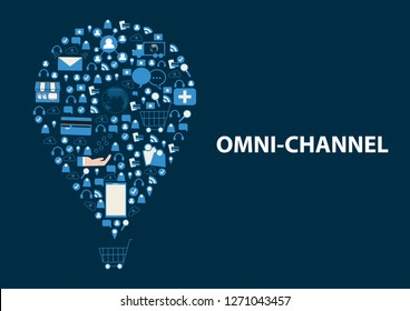 Internet of things conceptual. Omni Channels icon set over shopping cart. Online Shopping on website with laptop and icon of step after shopping, payment, notify, shipping and big data analysis