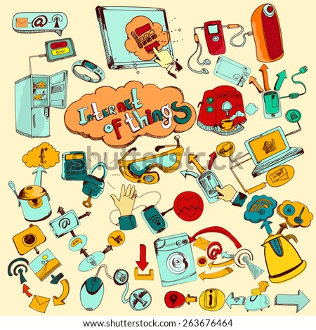 Internet of things doodles colored set with remote control home network elements vector illustration